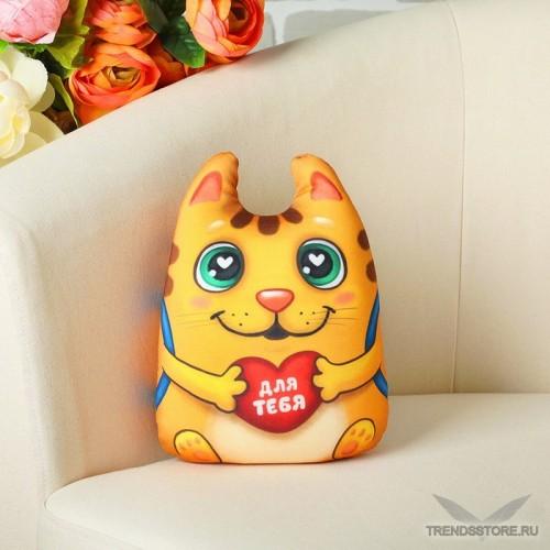 Котик с сердечком мягкая игрушка